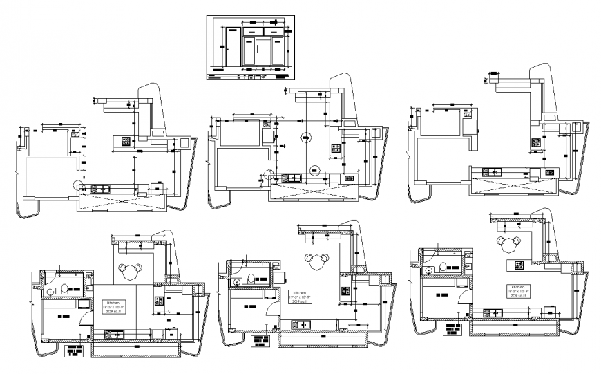 Kitchen layout structure detail 2d view plan dwg file