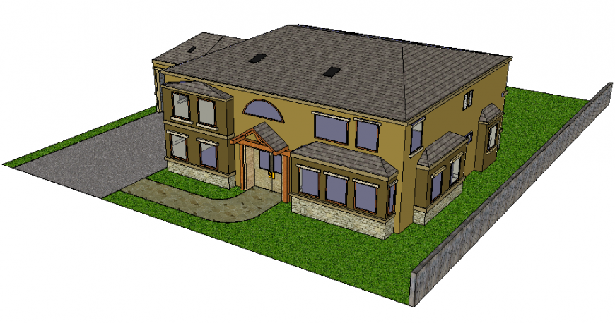 Large detached one family house 3d drawing skp file