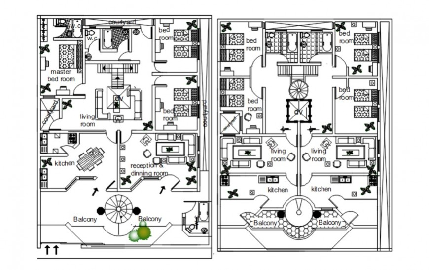 Living apartment 2d view CAD floor layout plan aitocad software file