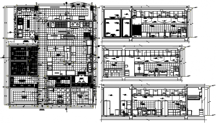 Luxurious kitchen for villa distribution plan with furniture drawing details dwg file