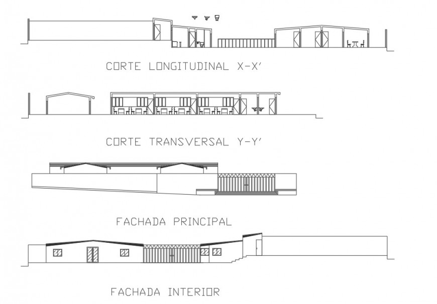 Main and back elevation and section drawing details of garden restaurant dwg file