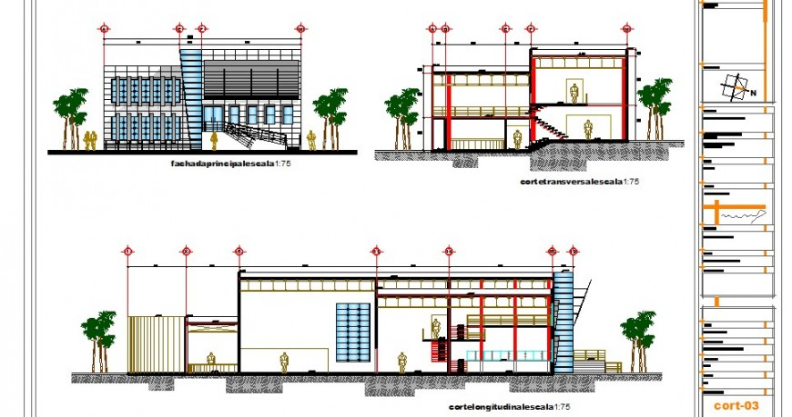 Main elevation, main section and back sectional details of hotel building dwg file