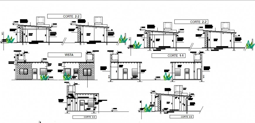 Main elevation and all sided sectional details of house dwg file