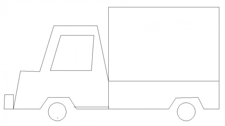 Mini transportation truck side elevation cad block details dwg file