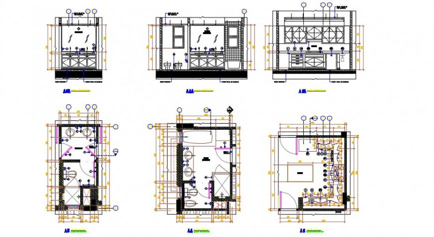 Modern concept top view plan detail, elevation of bathroom dwg file