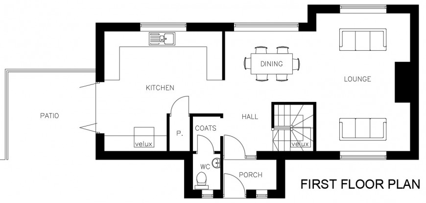 Modern house top view first floor plan