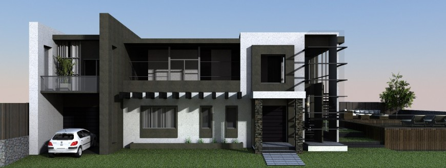 Modern two story house front elevation 3d model cad drawing details jpg file