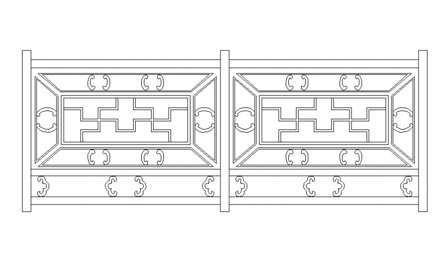 Modern wooden railing front elevation cad block details ...