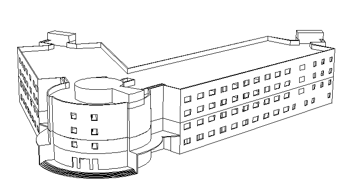 multi-story corporate building main elevation view details dwg file