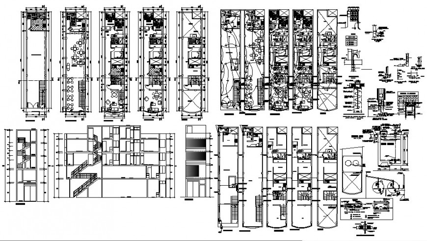 Multi-story hotel building elevation, section, floor plan, electrical layout and auto-cad drawing details dwg file