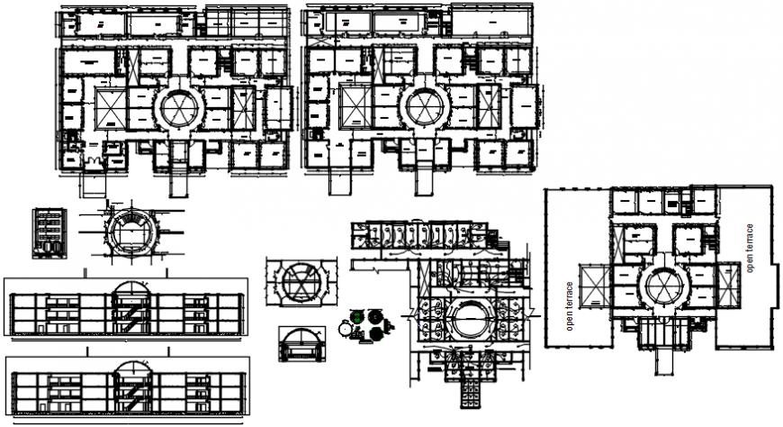 Multi-story school building floor plan distribution cad drawing details dwg file