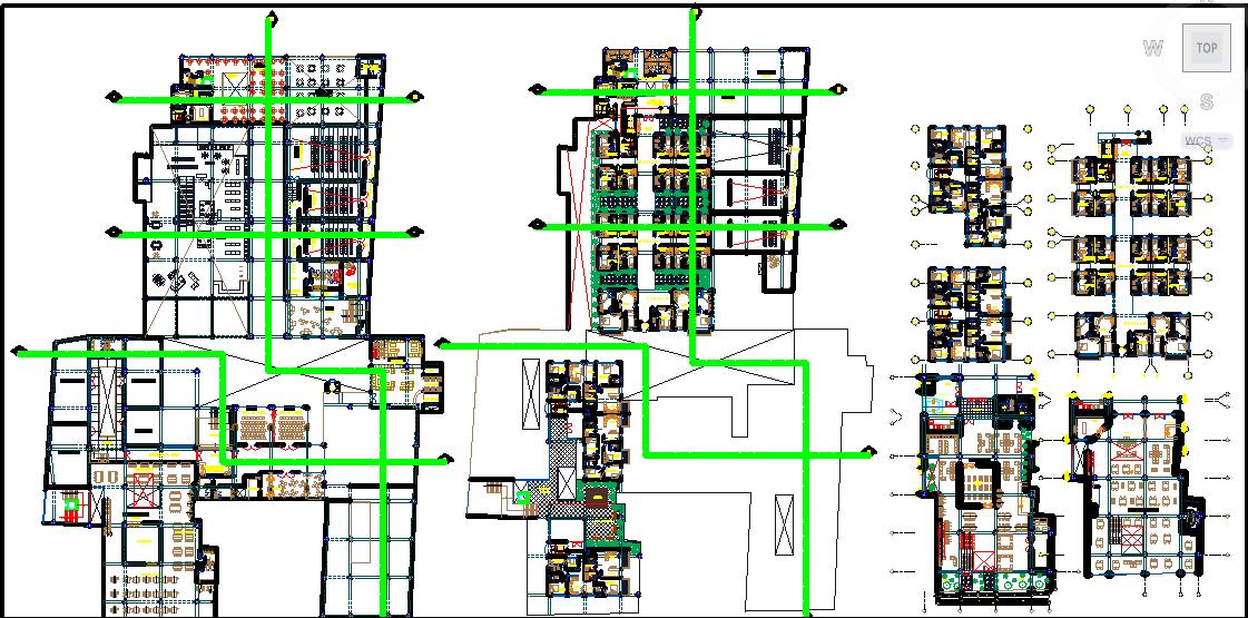 multifunctional building dwg file