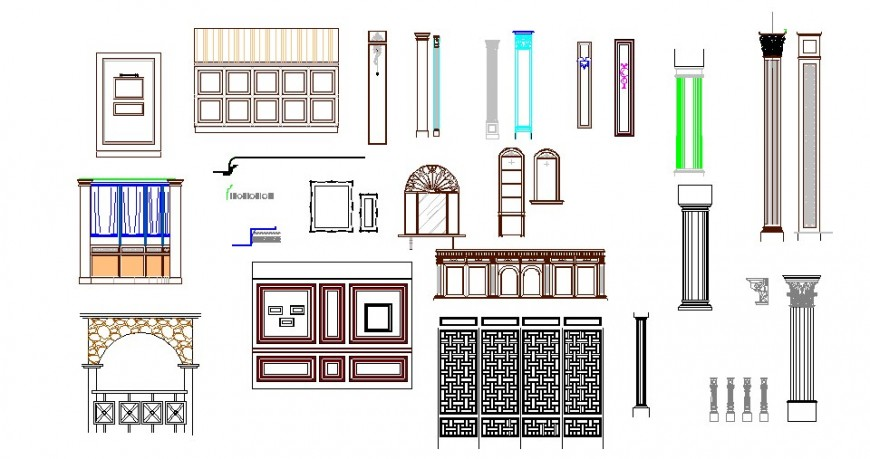Multiple column, doors, railing and furniture blocks cad drawing details dwg file