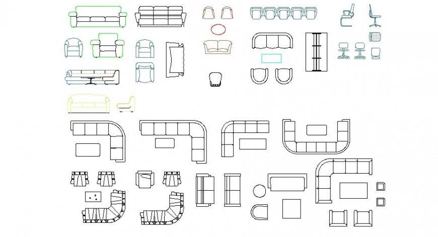 Multiple different shape's sofa set blocks cad drawing details dwg file