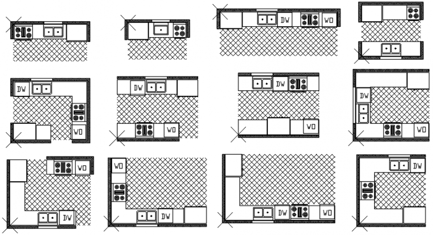 Multiple house kitchen plans cad drawing details dwg file