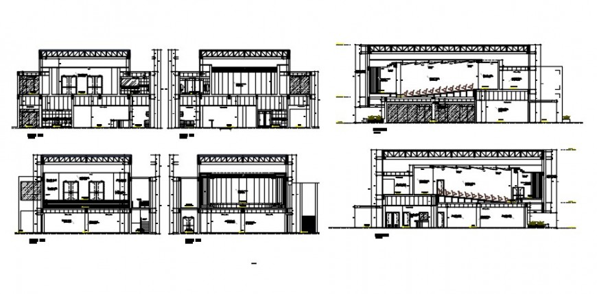 Multiplex theater building all sided section cad drawing details dwg file