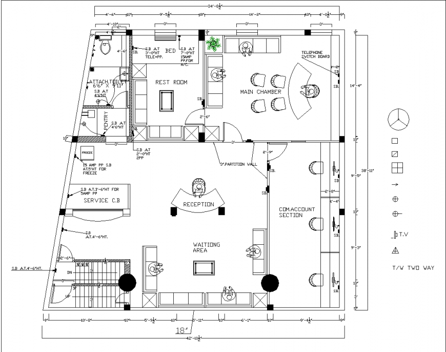 Office building furniture area drawing in dwg file.