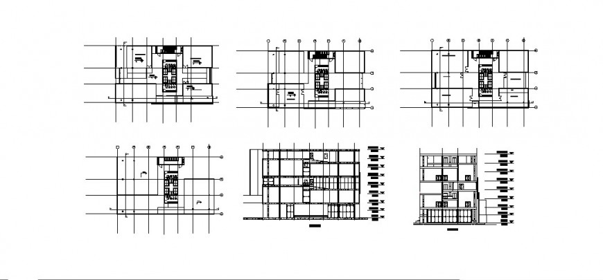 Office elevation, section and floor plan auto-cad drawing details dwg file