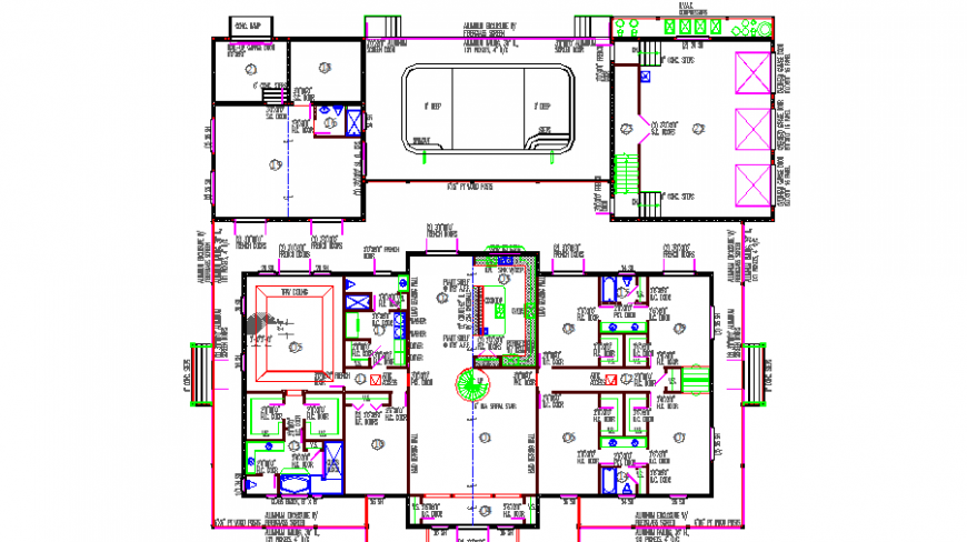 Office first floor framing plan cad drawing details dwg file