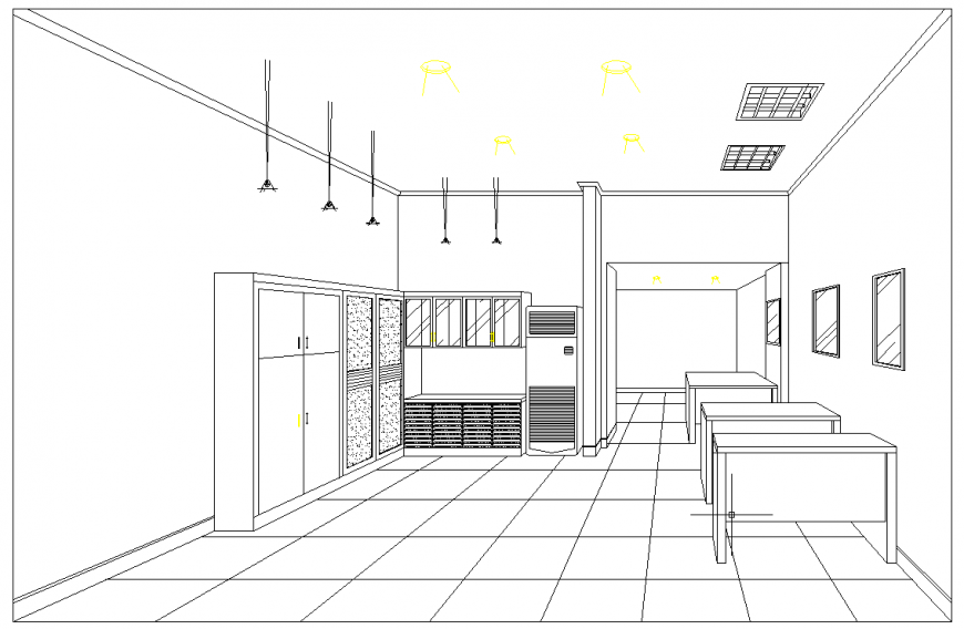 Office perspective view drawing in dwg AutoCAD file Cadbull
