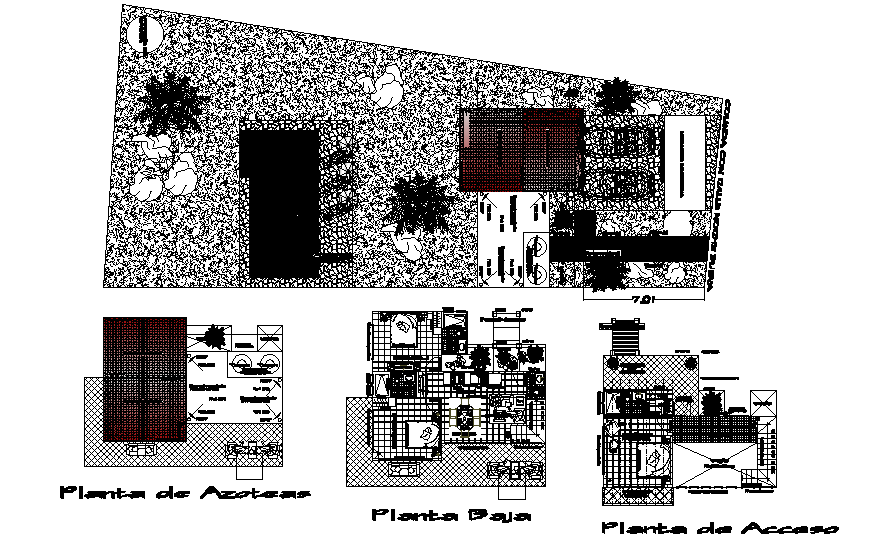 One family house floor plan and landscaping structure details dwg file