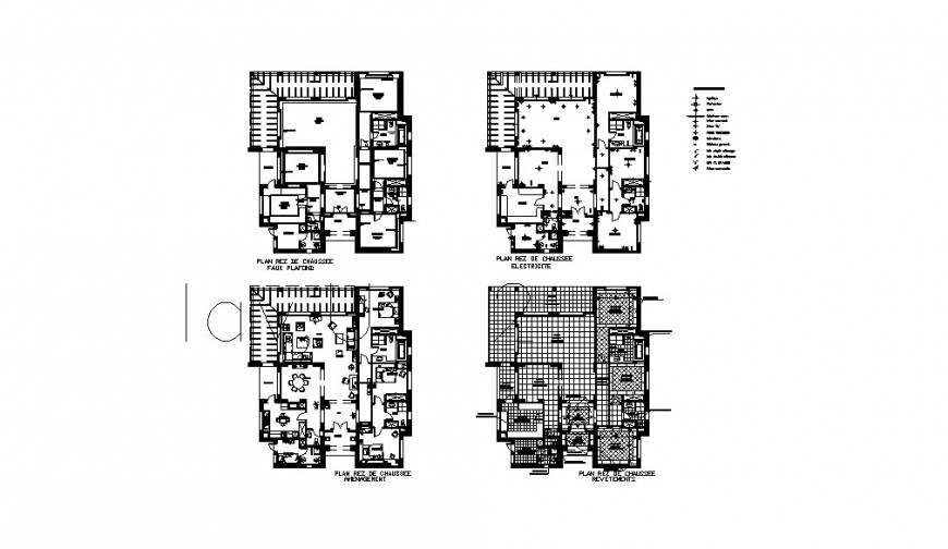 One family house floor plan with furniture cad drawing details dwg file