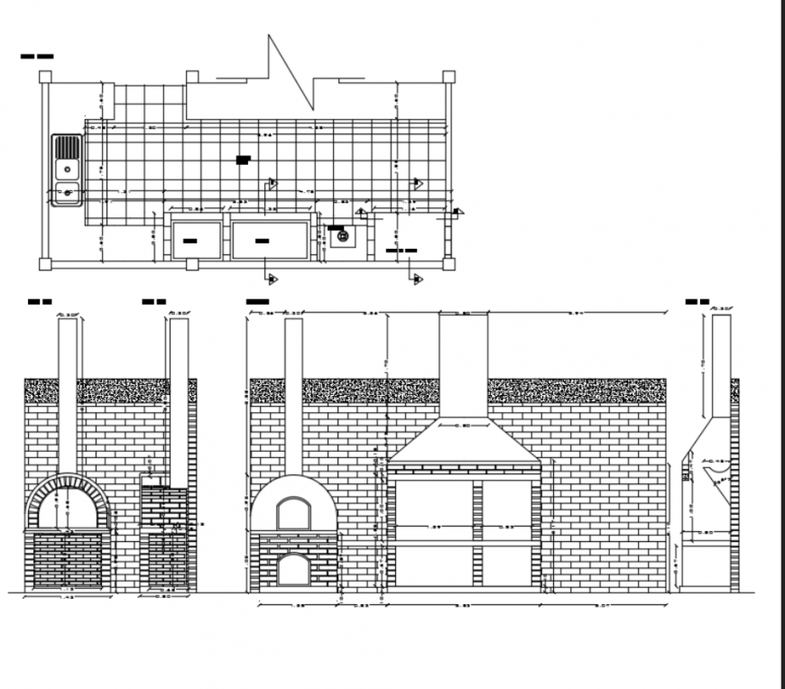 Kitchen Dwg File: Outdoor Barbecue Kitchen Fireplace And Clay Oven Details