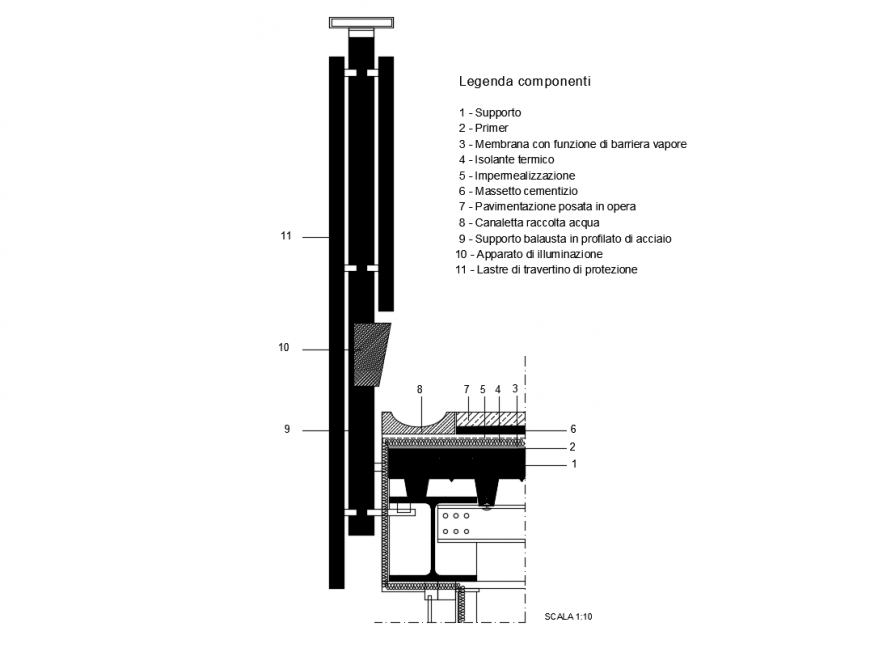 Parapet section-construction cad drawing details dwg file