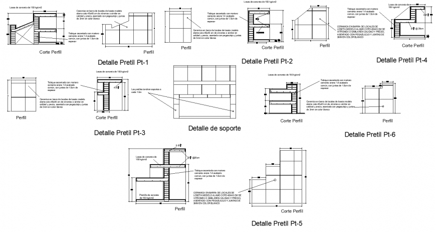 Parapet wall detail elevation and sectional layout dwg file