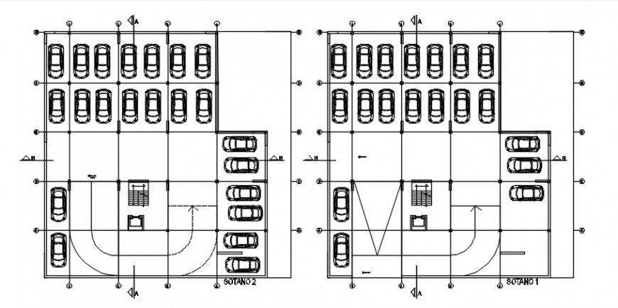 Parking system drawings 2d view plan details in autocad