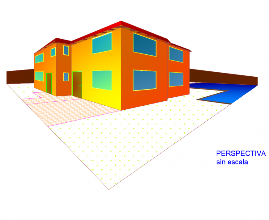 Perspective elevation of multi-family 3d house model cad drawing details dwg file