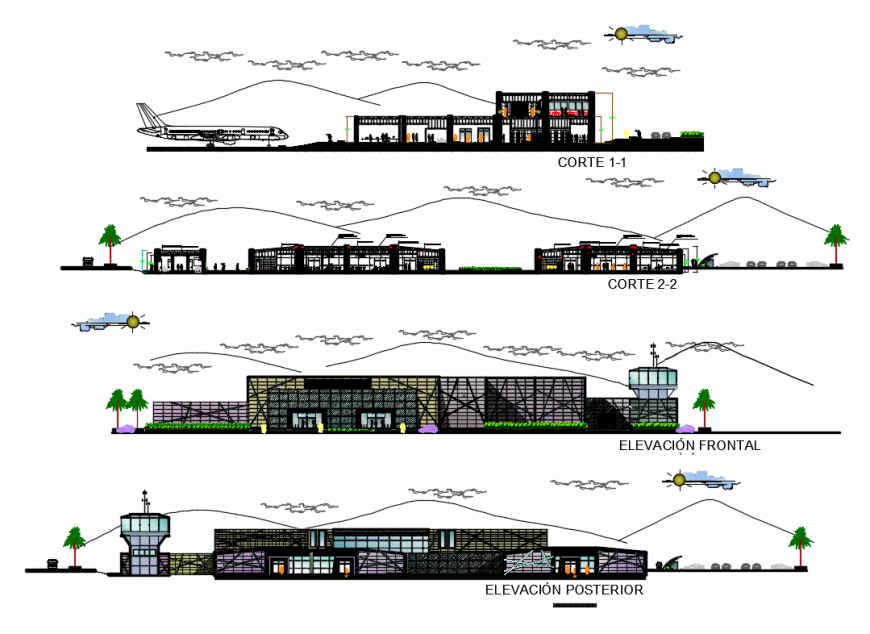 Peru Airport front and back elevations and sections cad drawing details dwg file