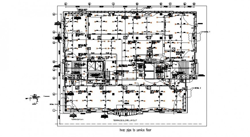 Pipe Service Flow Diagram 2d Drawing In Building Autocad