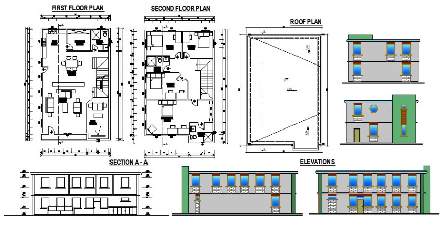Plan, elevation and section of two story house 2d view layout file in dwg format
