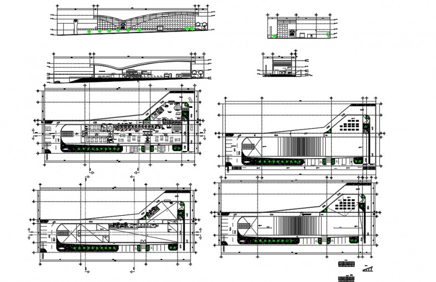Plan, elevation and sectional detail of store building 2d view layout file in autocad format