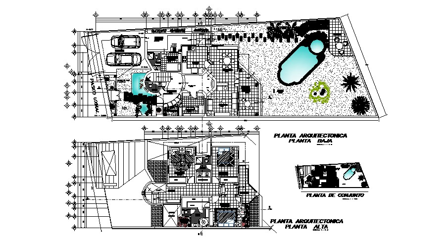 plan of Villa with section and elevation in AutoCAD