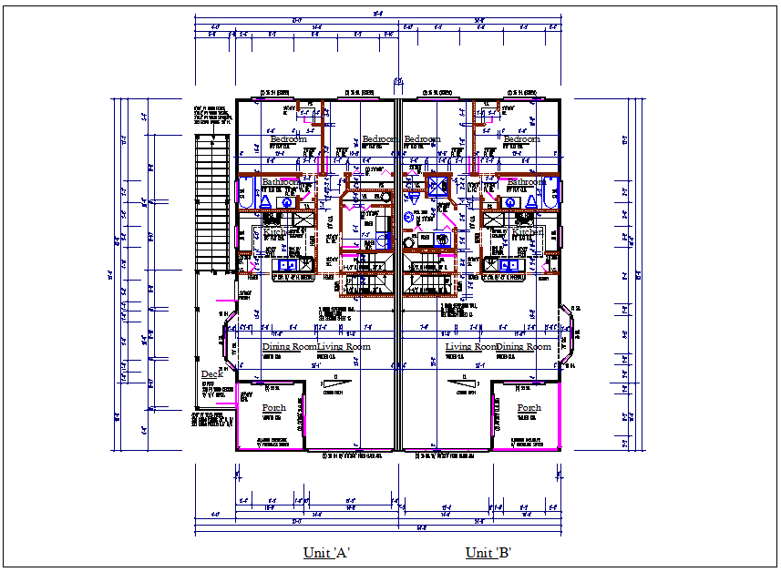 plan view of residential house detail dwg file