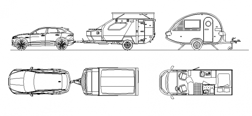 Plan and elevation of different vehicle dwg file