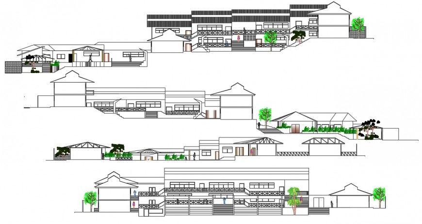 Primary school all sided elevation cad drawing details dwg file
