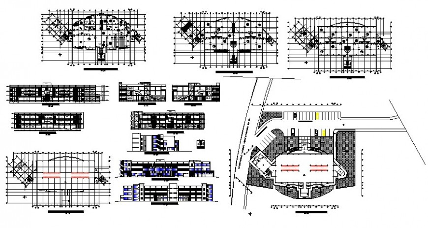 Primary school elevations, section, floor plan and auto-cad drawing details dwg file