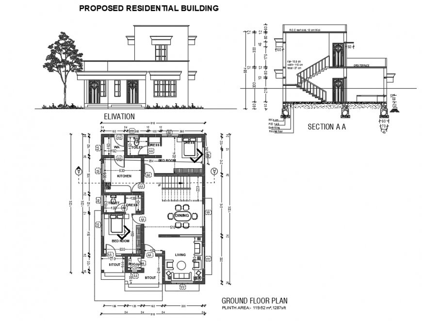 Proposed residential house mail elevation, section and plan details dwg file