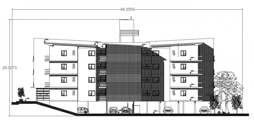 Residential apartment building frontal elevation cad ...