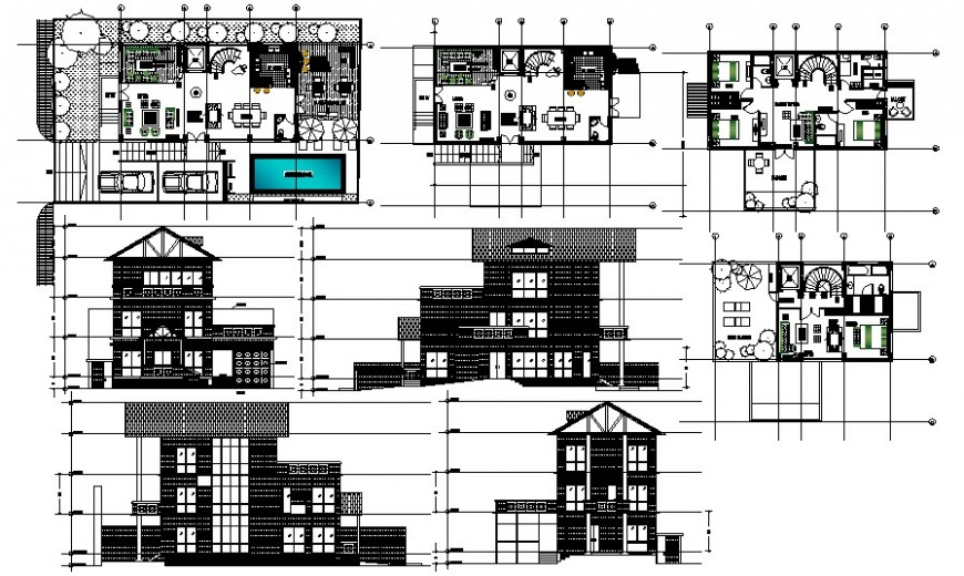 Residential bungalow work plan and elevation drawing in AutoCAD
