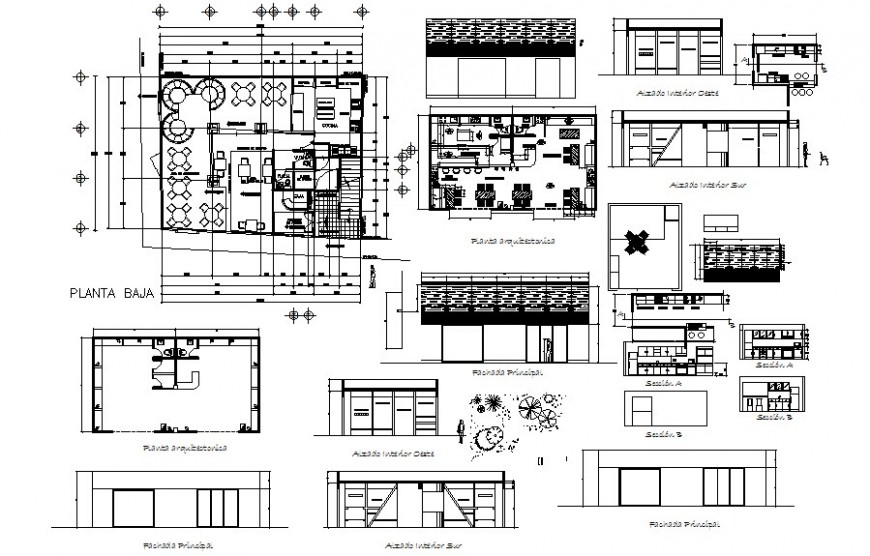 Restaurant building units drawings details plan elevation and section dwg file