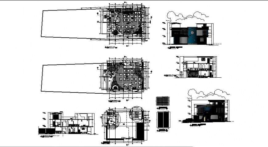 Restaurant floor plan elevation and