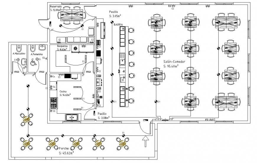 Restaurant project plan drawing in dwg file.