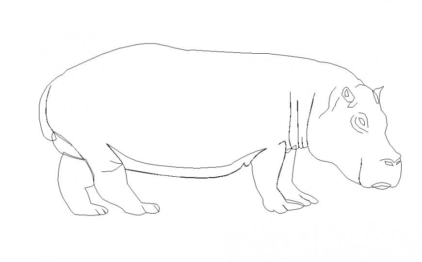 Right Side Animal Block Design in Autocad File