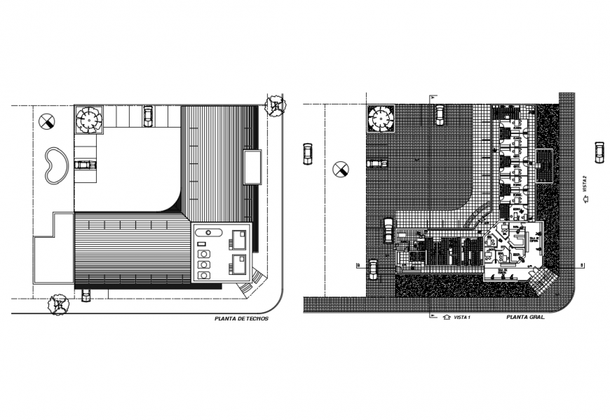 Roof plan and architecture layout plan details of city hospital dwg file