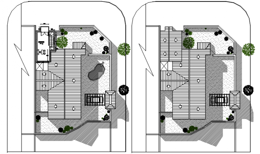 Roof plan of a residential house dwg file