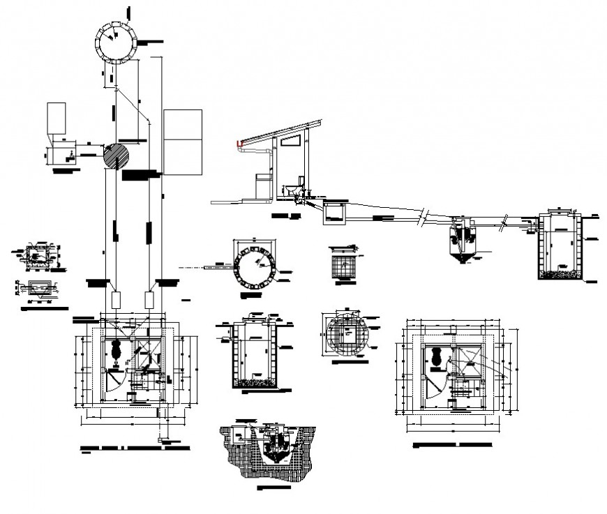 Sanitary toilet and drainage system detail 2d view CAD structural block autocad file